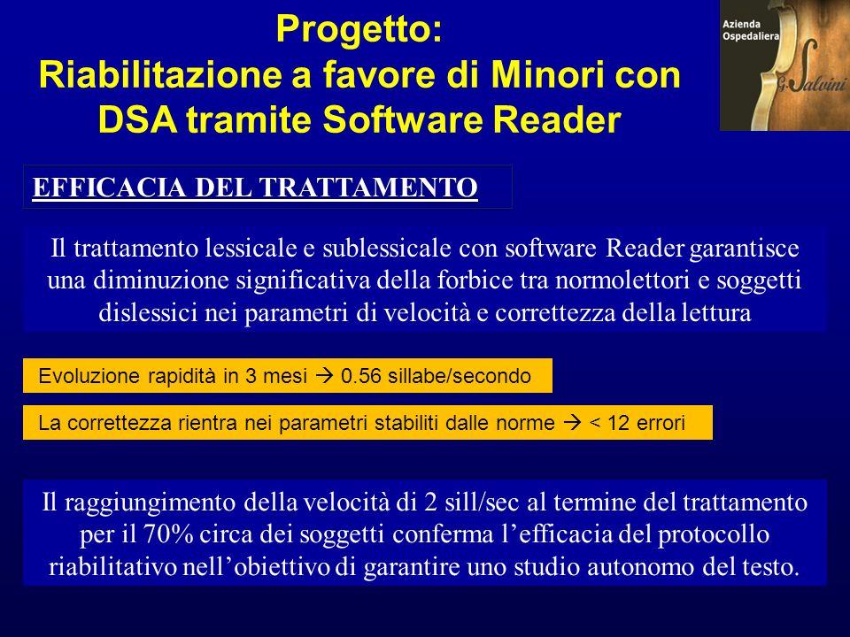 Progetto: Riabilitazione a favore di Minori con DSA tramite Software Reader EFFICACIA DEL TRATTAMENTO Il trattamento lessicale e sublessicale con soft