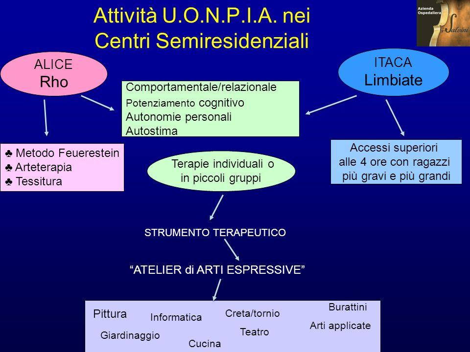 Attività U.O.N.P.I.A. nei Centri Semiresidenziali Terapie individuali o in piccoli gruppi ITACA Limbiate ALICE Rho Comportamentale/relazionale Potenzi