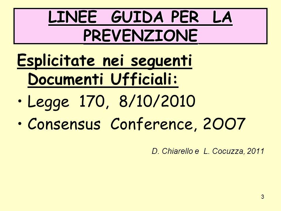 3 LINEE GUIDA PER LA PREVENZIONE Esplicitate nei seguenti Documenti Ufficiali: Legge 170, 8/10/2010 Consensus Conference, 2OO7 D.