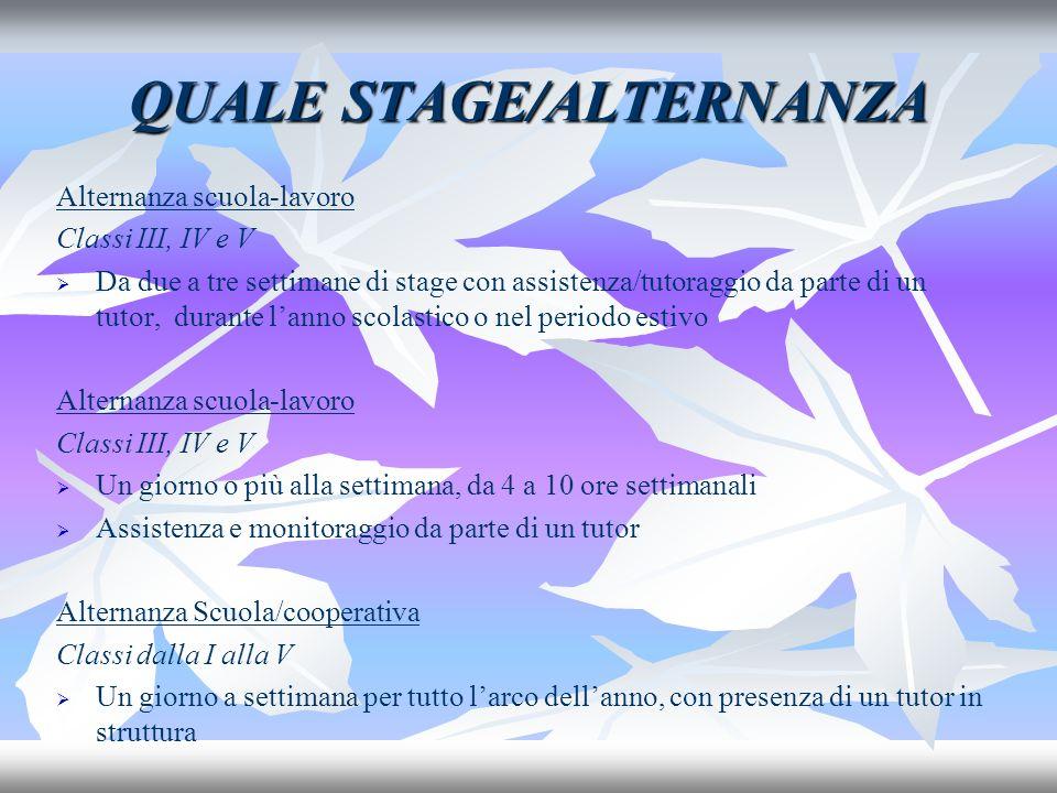 QUALE STAGE/ALTERNANZA Alternanza scuola-lavoro Classi III, IV e V Da due a tre settimane di stage con assistenza/tutoraggio da parte di un tutor, dur