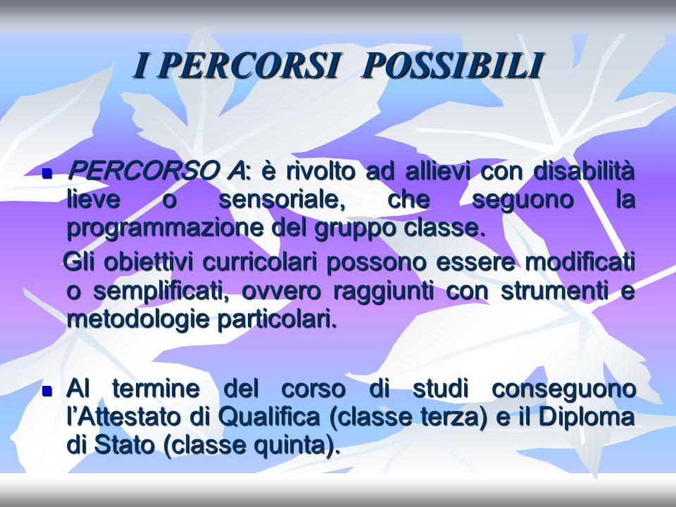 I PERCORSI POSSIBILI PERCORSO A: è rivolto ad allievi con disabilità lieve o sensoriale, che seguono la programmazione del gruppo classe. PERCORSO A: