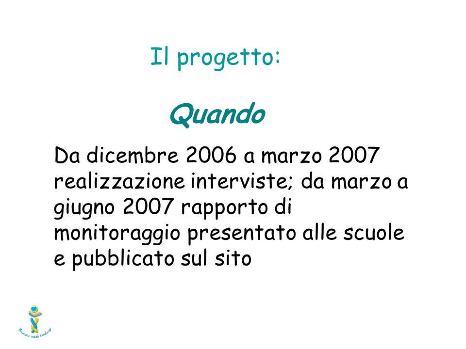 Da dicembre 2006 a marzo 2007 realizzazione interviste; da marzo a giugno 2007 rapporto di monitoraggio presentato alle scuole e pubblicato sul sito Il progetto: Quando
