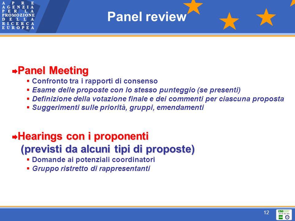 12 Panel review Panel Meeting Confronto tra i rapporti di consenso Esame delle proposte con lo stesso punteggio (se presenti) Definizione della votazione finale e dei commenti per ciascuna proposta Suggerimenti sulle priorità, gruppi, emendamenti Hearings con i proponenti (previsti da alcuni tipi di proposte) (previsti da alcuni tipi di proposte) Domande ai potenziali coordinatori Gruppo ristretto di rappresentanti