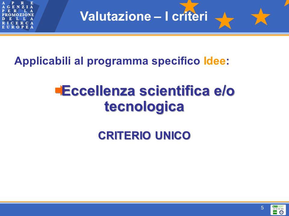 5 Applicabili al programma specifico Idee: Eccellenza scientifica e/o tecnologica Eccellenza scientifica e/o tecnologica CRITERIO UNICO Valutazione – I criteri