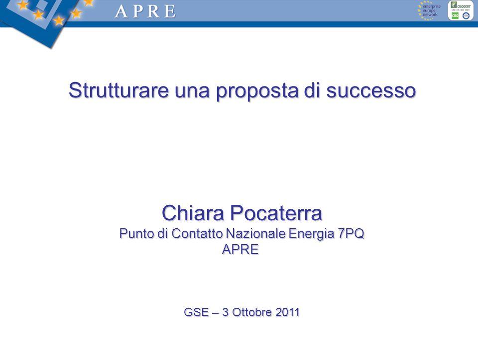 Strutturare una proposta di successo Chiara Pocaterra Punto di Contatto Nazionale Energia 7PQ APRE GSE – 3 Ottobre 2011