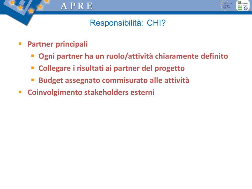 Responsibilità: CHI? Partner principali Ogni partner ha un ruolo/attività chiaramente definito Collegare i risultati ai partner del progetto Budget as