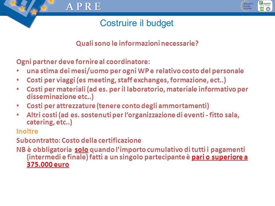 Costruire il budget Quali sono le informazioni necessarie? Ogni partner deve fornire al coordinatore: una stima dei mesi/uomo per ogni WP e relativo c