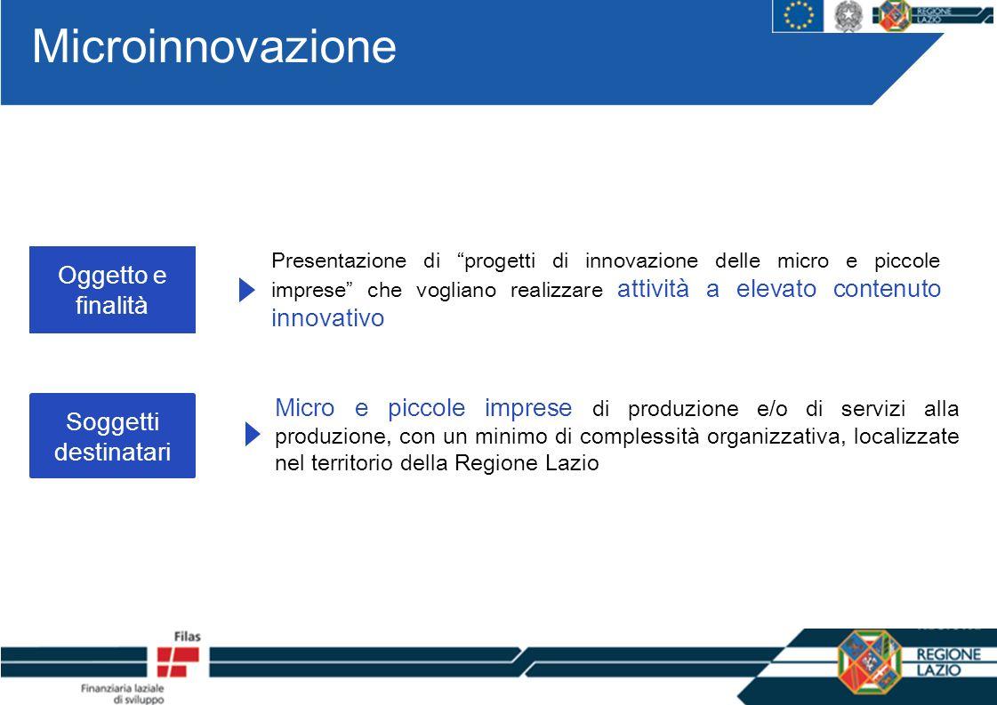Microinnovazione Oggetto e finalità Soggetti destinatari Presentazione di progetti di innovazione delle micro e piccole imprese che vogliano realizzare attività a elevato contenuto innovativo Micro e piccole imprese di produzione e/o di servizi alla produzione, con un minimo di complessità organizzativa, localizzate nel territorio della Regione Lazio