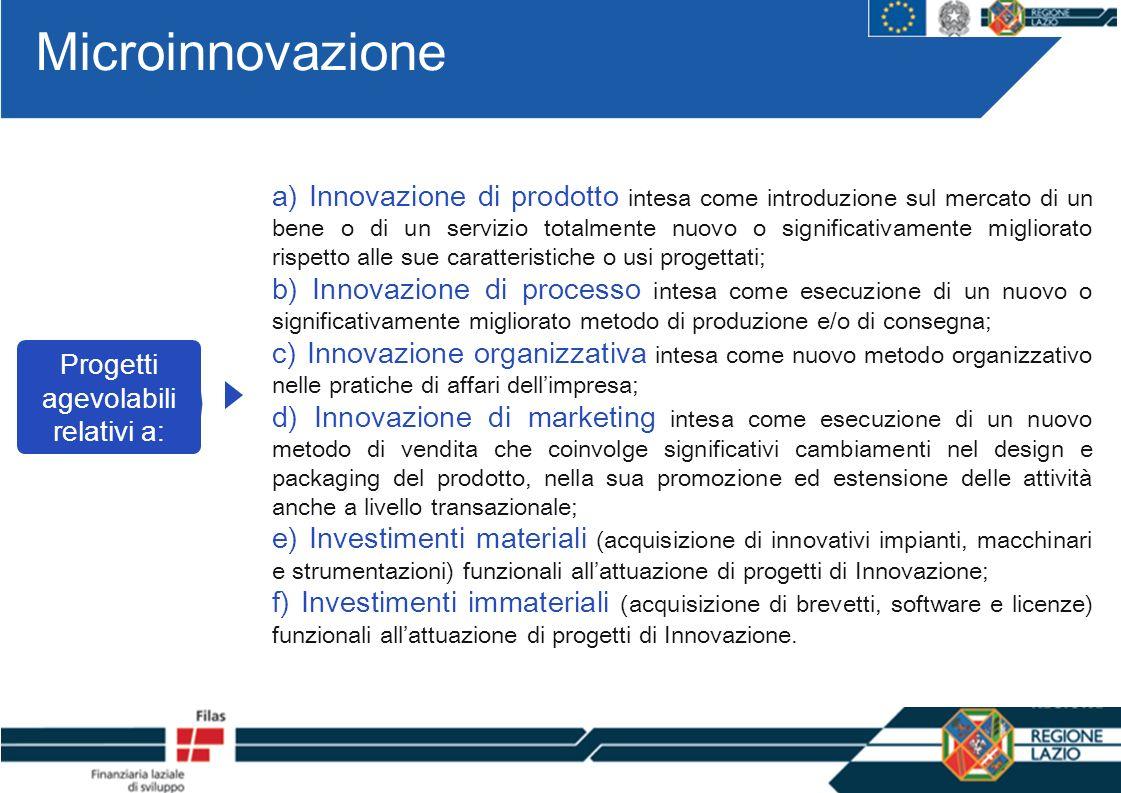 Microinnovazione Progetti agevolabili relativi a: a) Innovazione di prodotto intesa come introduzione sul mercato di un bene o di un servizio totalmen
