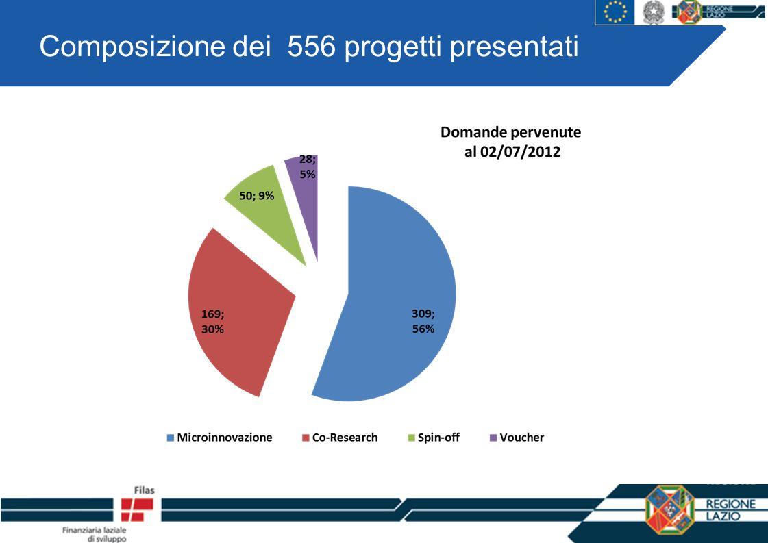 Composizione dei 556 progetti presentati