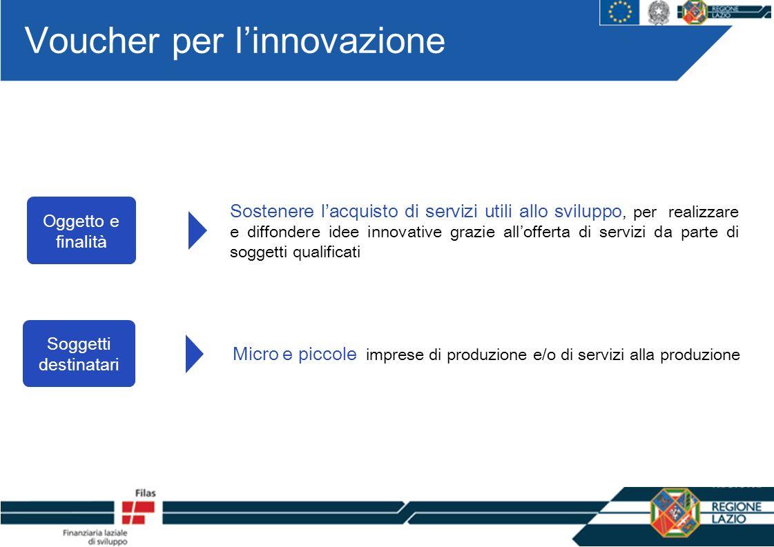 Voucher per linnovazione Sostenere lacquisto di servizi utili allo sviluppo, per realizzare e diffondere idee innovative grazie allofferta di servizi