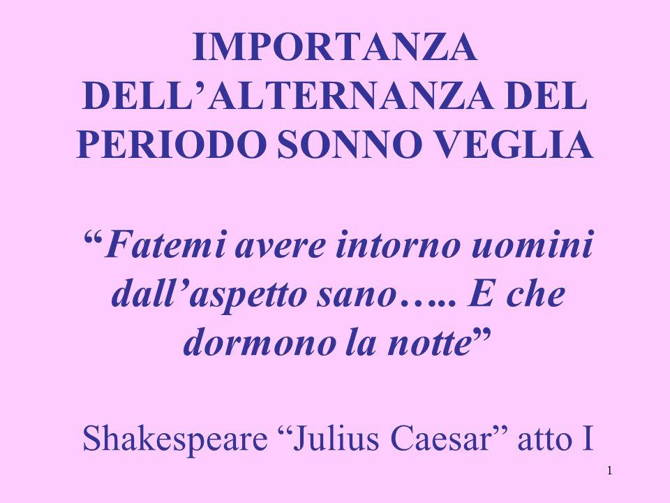 1 Fatemi avere intorno uomini dallaspetto sano….. E che dormono la notte Shakespeare Julius Caesar atto I IMPORTANZA DELLALTERNANZA DEL PERIODO SONNO