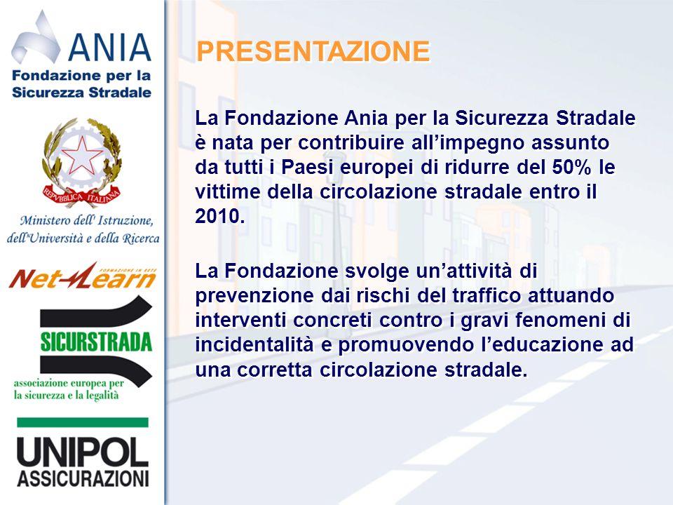 PRESENTAZIONE La Fondazione Ania per la Sicurezza Stradale è nata per contribuire allimpegno assunto da tutti i Paesi europei di ridurre del 50% le vittime della circolazione stradale entro il 2010.
