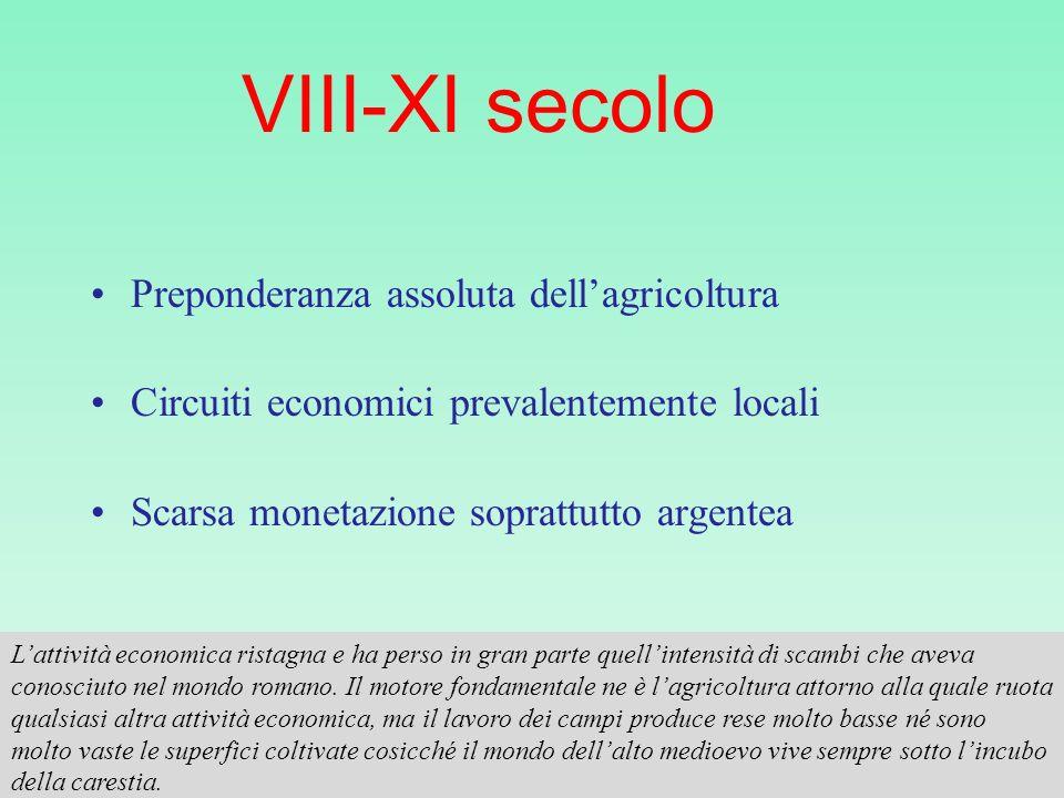 VIII-XI secolo Preponderanza assoluta dellagricoltura Circuiti economici prevalentemente locali Scarsa monetazione soprattutto argentea Lattività econ