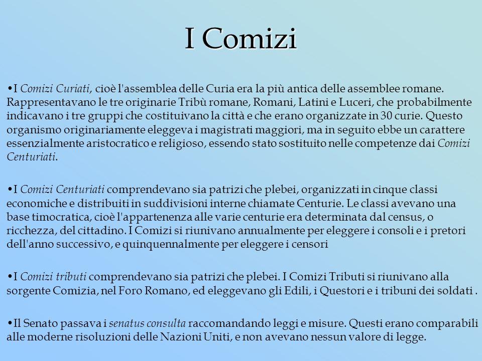 I Comizi I Comizi Curiati, cioè l'assemblea delle Curia era la più antica delle assemblee romane. Rappresentavano le tre originarie Tribù romane, Roma