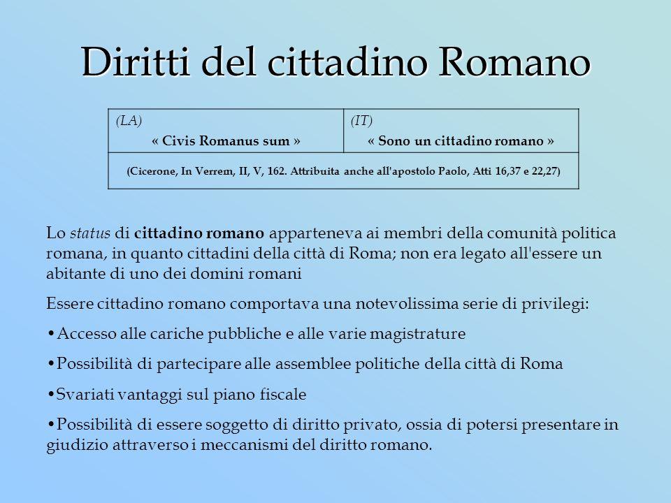 Diritti del cittadino Romano (LA) « Civis Romanus sum » (IT) « Sono un cittadino romano » (Cicerone, In Verrem, II, V, 162. Attribuita anche all'apost