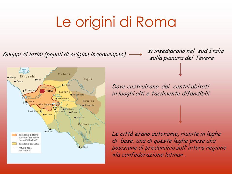 Le origini di Roma Gruppi di latini (popoli di origine indoeuropea) si insediarono nel sud Italia sulla pianura del Tevere Dove costruirono dei centri