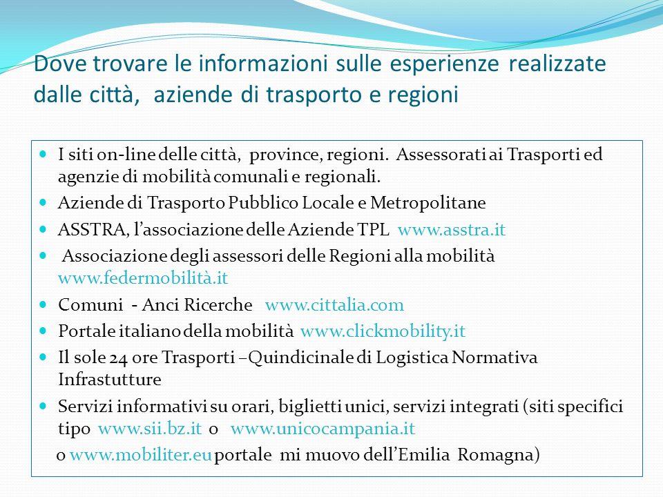 Dove trovare le informazioni sulle esperienze realizzate dalle città, aziende di trasporto e regioni I siti on-line delle città, province, regioni.