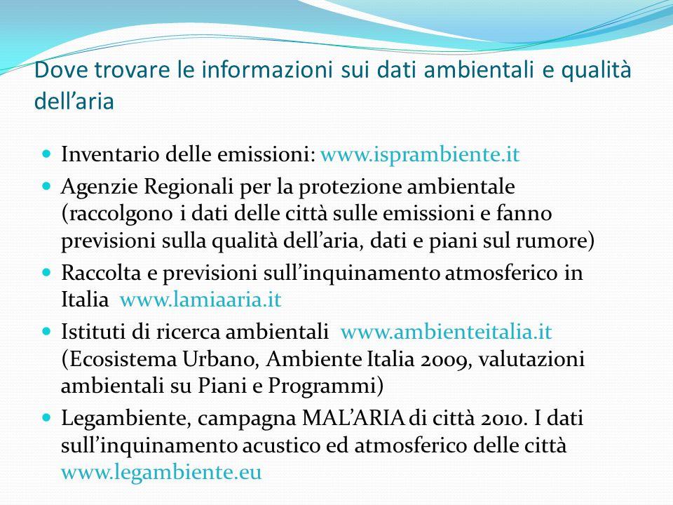 Inventario delle emissioni: www.isprambiente.it Agenzie Regionali per la protezione ambientale (raccolgono i dati delle città sulle emissioni e fanno previsioni sulla qualità dellaria, dati e piani sul rumore) Raccolta e previsioni sullinquinamento atmosferico in Italia www.lamiaaria.it Istituti di ricerca ambientali www.ambienteitalia.it (Ecosistema Urbano, Ambiente Italia 2009, valutazioni ambientali su Piani e Programmi) Legambiente, campagna MALARIA di città 2010.