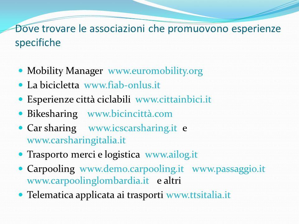 Dove trovare le associazioni che promuovono esperienze specifiche Mobility Manager www.euromobility.org La bicicletta www.fiab-onlus.it Esperienze città ciclabili www.cittainbici.it Bikesharing www.bicincittà.com Car sharing www.icscarsharing.it e www.carsharingitalia.it Trasporto merci e logistica www.ailog.it Carpooling www.demo.carpooling.it www.passaggio.it www.carpoolinglombardia.it e altri Telematica applicata ai trasporti www.ttsitalia.it
