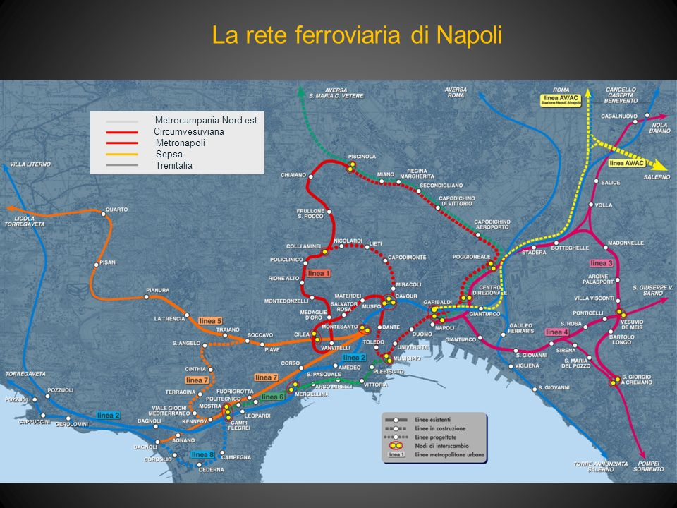 La rete ferroviaria di Napoli Metrocampania Nord est Circumvesuviana Metronapoli Sepsa Trenitalia