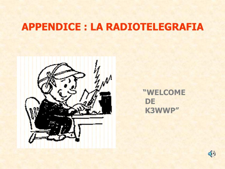 APPENDICE : LA RADIOTELEGRAFIA WELCOME DE K3WWP