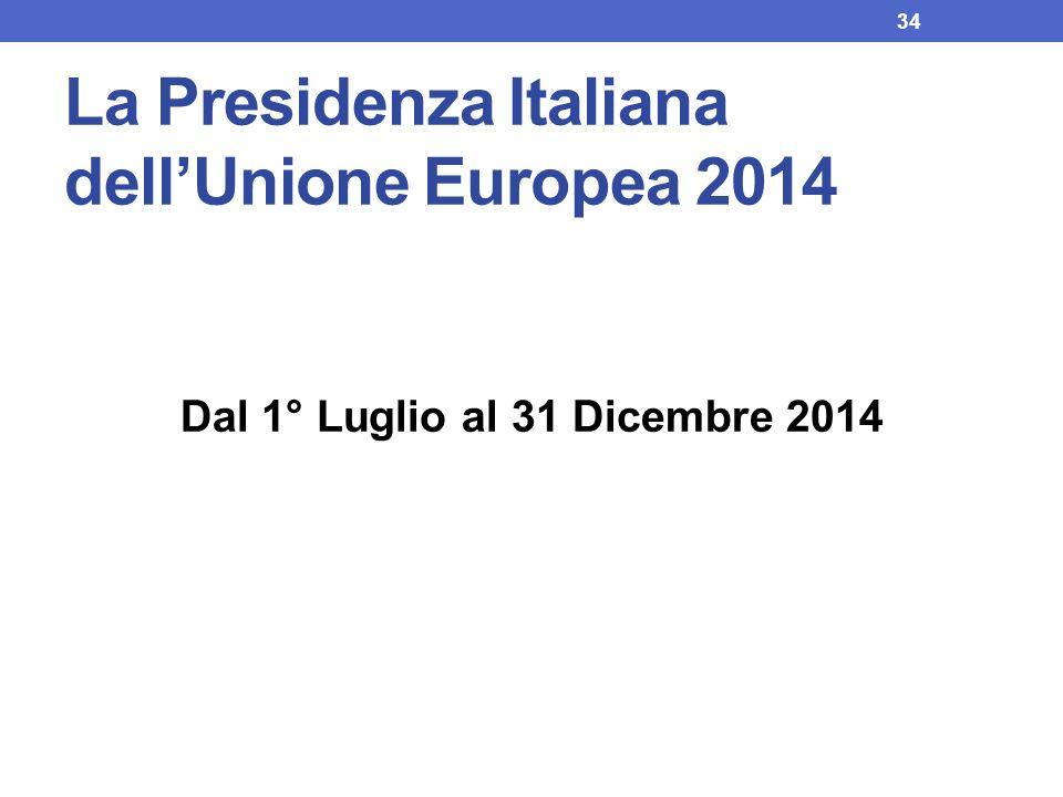 La Presidenza Italiana dellUnione Europea 2014 Dal 1° Luglio al 31 Dicembre 2014 34