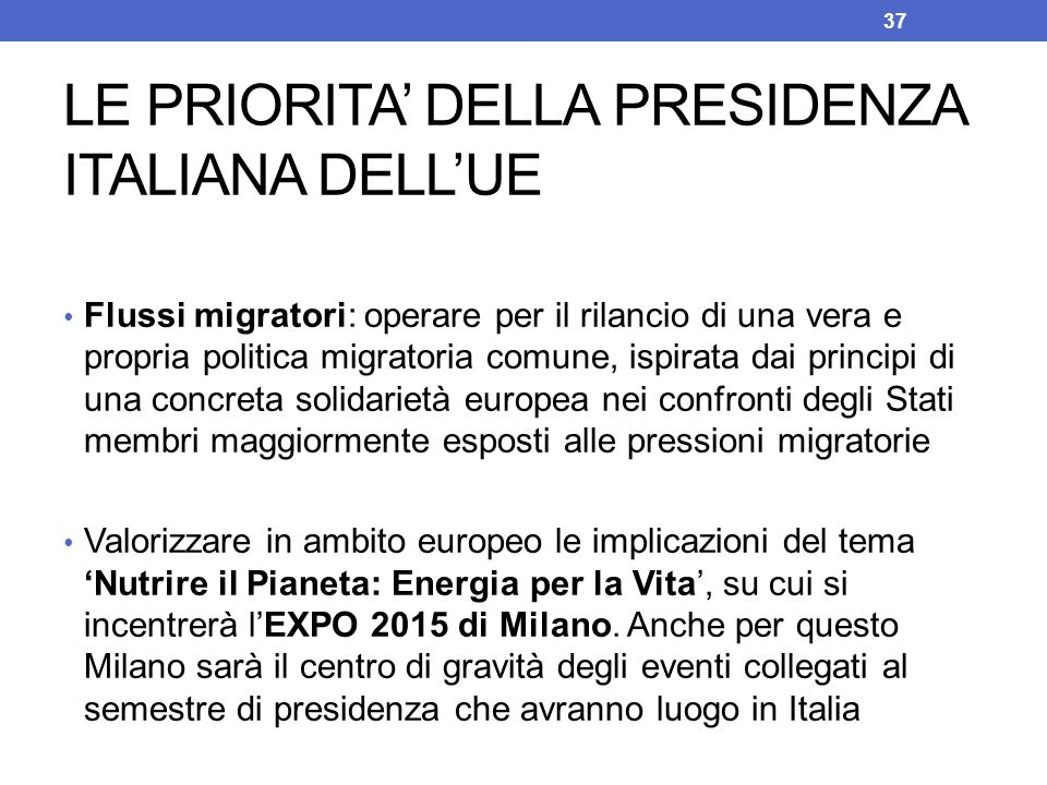 Flussi migratori: operare per il rilancio di una vera e propria politica migratoria comune, ispirata dai principi di una concreta solidarietà europea