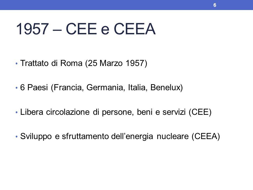 1957 – CEE e CEEA Trattato di Roma (25 Marzo 1957) 6 Paesi (Francia, Germania, Italia, Benelux) Libera circolazione di persone, beni e servizi (CEE) S