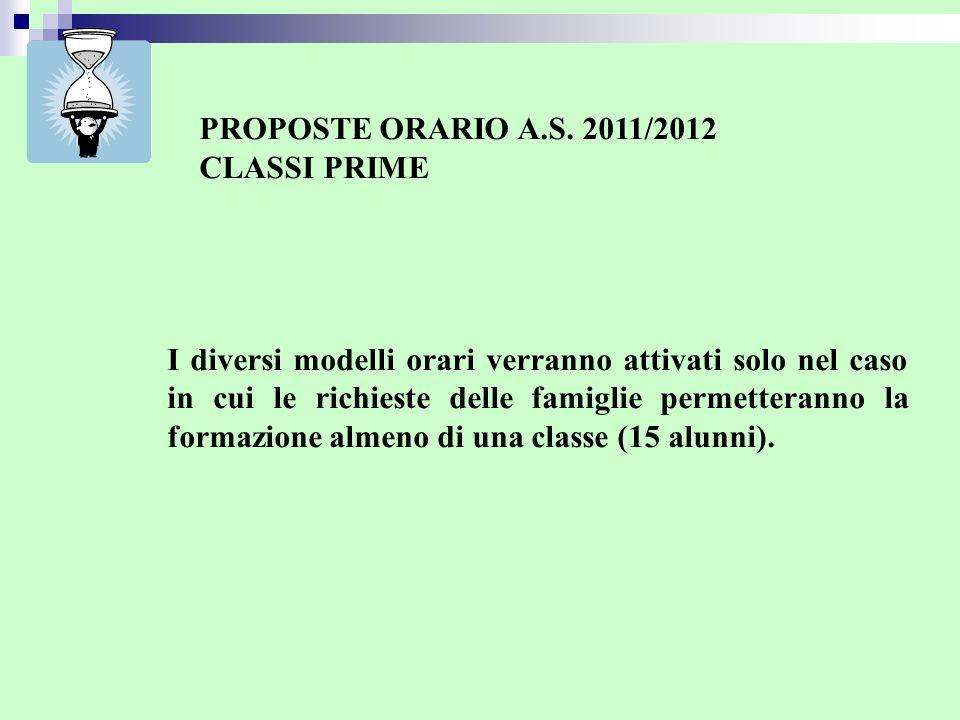 PROPOSTE ORARIO A.S. 2011/2012 CLASSI PRIME I diversi modelli orari verranno attivati solo nel caso in cui le richieste delle famiglie permetteranno l