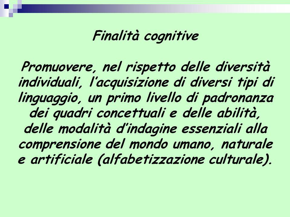 Finalità cognitive Promuovere, nel rispetto delle diversità individuali, lacquisizione di diversi tipi di linguaggio, un primo livello di padronanza d