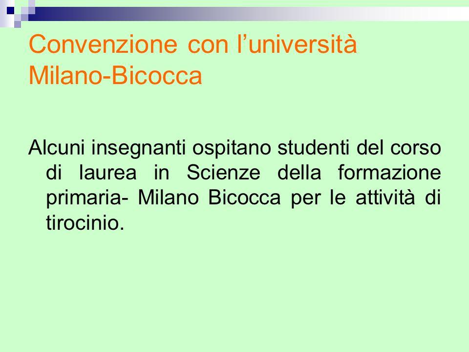 Convenzione con luniversità Milano-Bicocca Alcuni insegnanti ospitano studenti del corso di laurea in Scienze della formazione primaria- Milano Bicocc