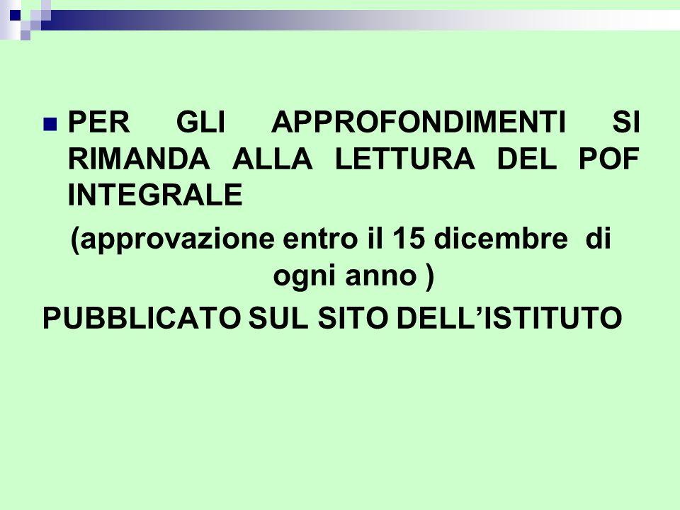 PER GLI APPROFONDIMENTI SI RIMANDA ALLA LETTURA DEL POF INTEGRALE (approvazione entro il 15 dicembre di ogni anno ) PUBBLICATO SUL SITO DELLISTITUTO
