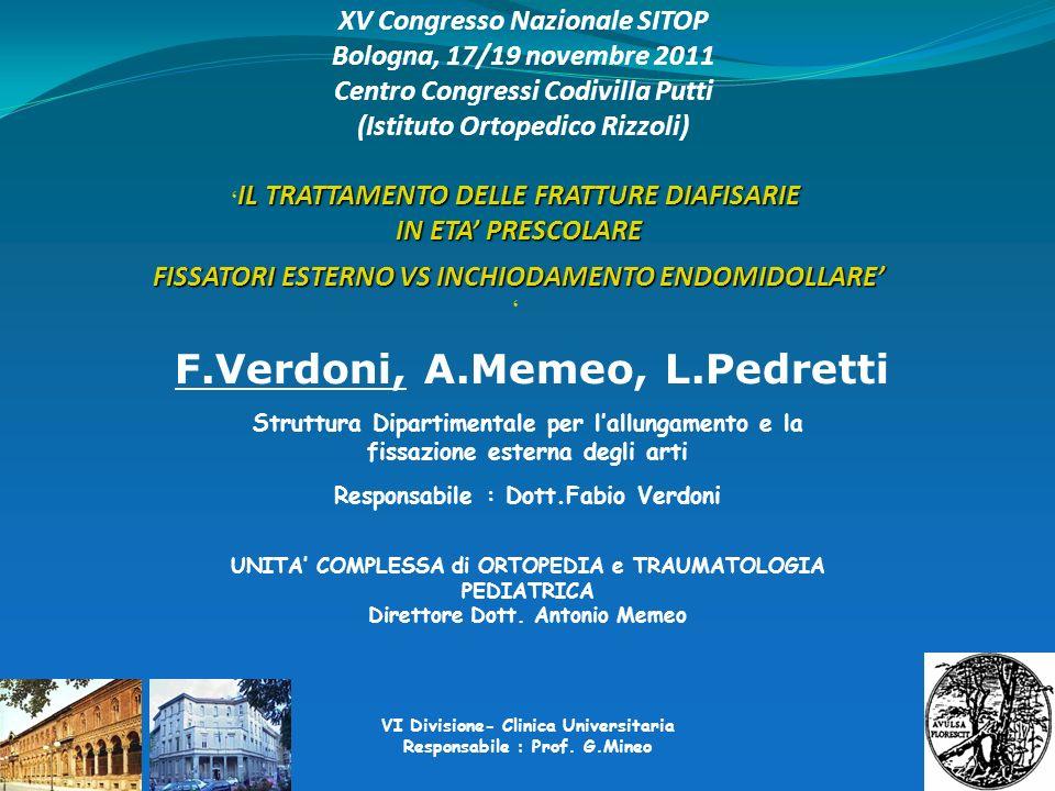 Struttura Dipartimentale per lallungamento e la fissazione esterna degli arti Responsabile : Dott.Fabio Verdoni UNITA COMPLESSA di ORTOPEDIA e TRAUMAT