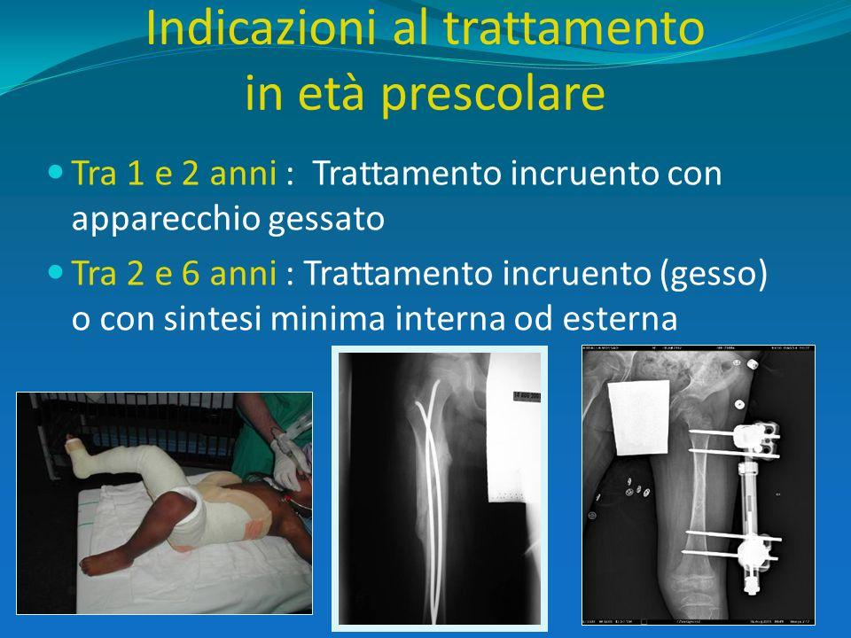 Indicazioni al trattamento in età prescolare Tra 1 e 2 anni : Trattamento incruento con apparecchio gessato Tra 2 e 6 anni : Trattamento incruento (ge