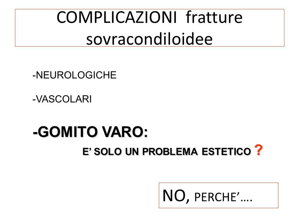 COMPLICAZIONI fratture sovracondiloidee -NEUROLOGICHE -VASCOLARI -GOMITO VARO: E SOLO UN PROBLEMA ESTETICO ? E SOLO UN PROBLEMA ESTETICO ? NO, PERCHE…
