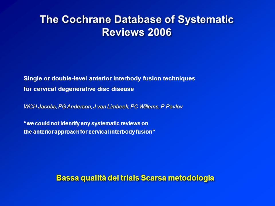5 Risultati di 4 RCT (Randomized Controlled Trials) McAfee et al (Spine, Oct 2011) 1228 paz.