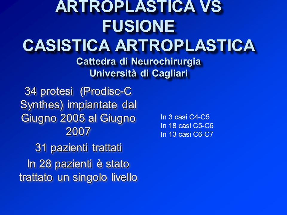10 CASISTICA FUSIONE (non è uno studio randomizzato - la scelta è stata del paziente) 31 casi scelti per caratteristiche generali e di patologia simili a quelle del gruppo di artroplastica.
