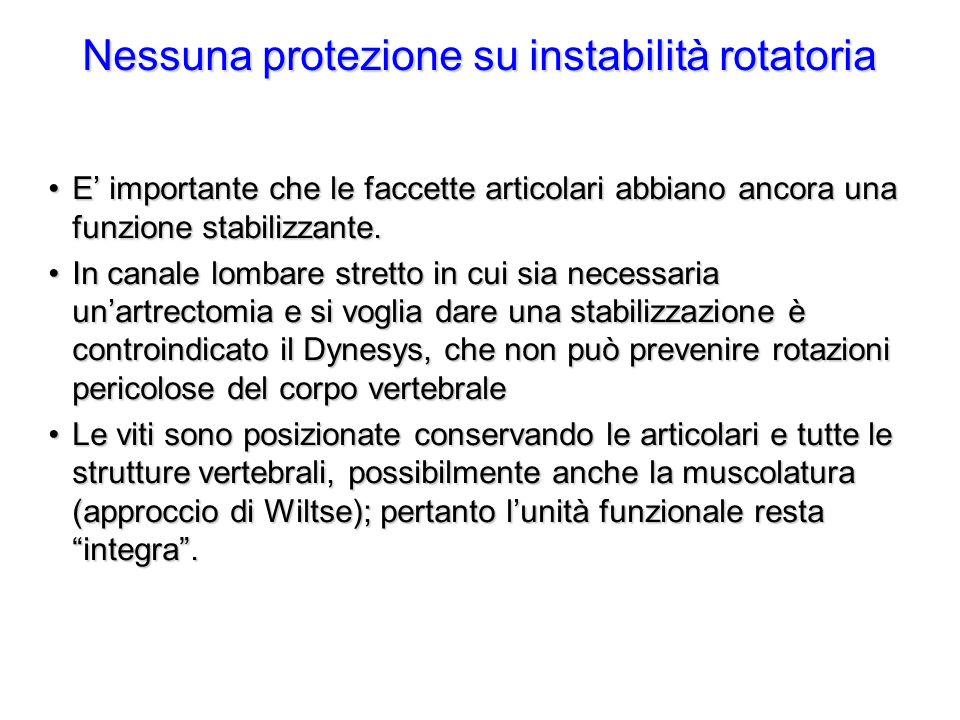 Nessuna protezione su instabilità rotatoria E importante che le faccette articolari abbiano ancora una funzione stabilizzante.E importante che le facc