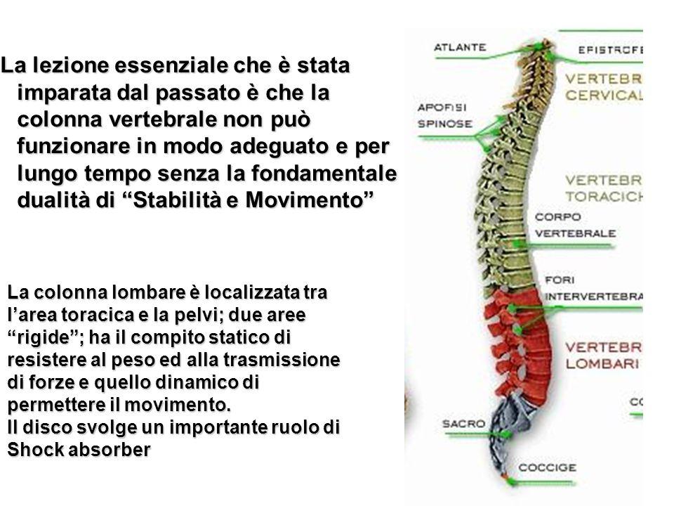 La lezione essenziale che è stata imparata dal passato è che la colonna vertebrale non può funzionare in modo adeguato e per lungo tempo senza la fond