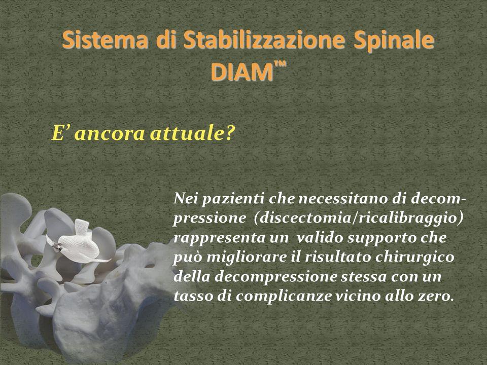 Sistema di Stabilizzazione Spinale DIAM Sistema di Stabilizzazione Spinale DIAM E ancora attuale? Nei pazienti che necessitano di decom- pressione (di