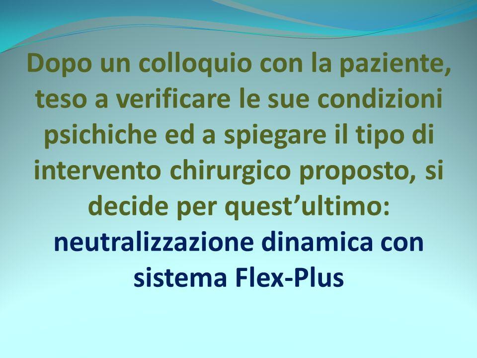 Dopo un colloquio con la paziente, teso a verificare le sue condizioni psichiche ed a spiegare il tipo di intervento chirurgico proposto, si decide per questultimo: neutralizzazione dinamica con sistema Flex-Plus
