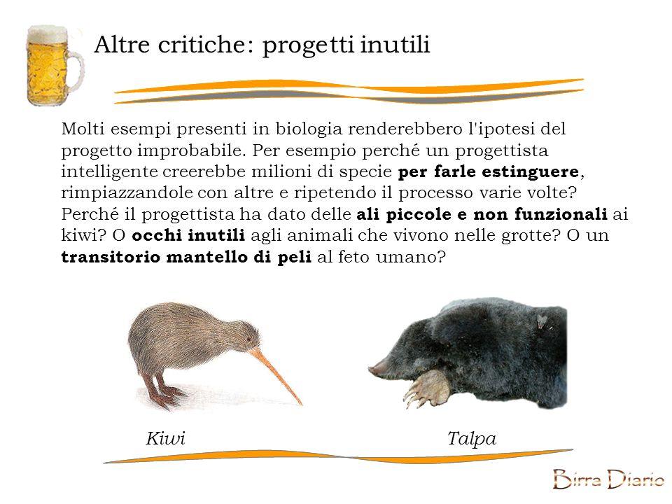 Complessità irriducibile: critiche Secondo tale critica l esempio della trappola per topi non avrebbero alcun senso.