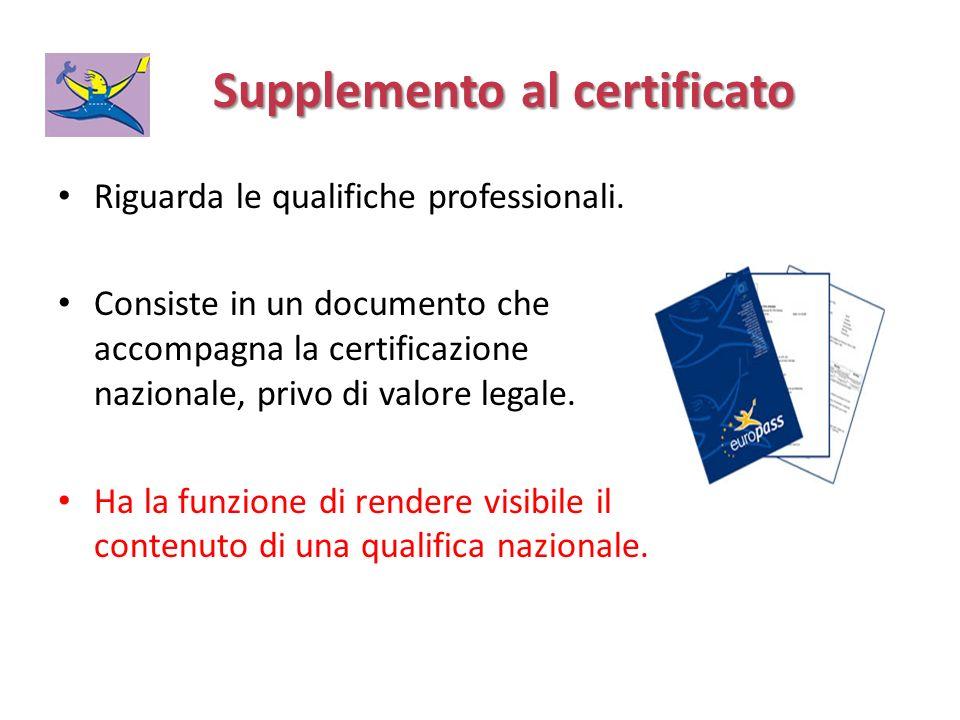 Supplemento al certificato Supplemento al certificato Riguarda le qualifiche professionali. Consiste in un documento che accompagna la certificazione