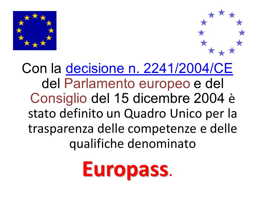 Con la decisione n. 2241/2004/CE del Parlamento europeo e del Consiglio del 15 dicembre 2004 è stato definito un Quadro Unico per la trasparenza delle