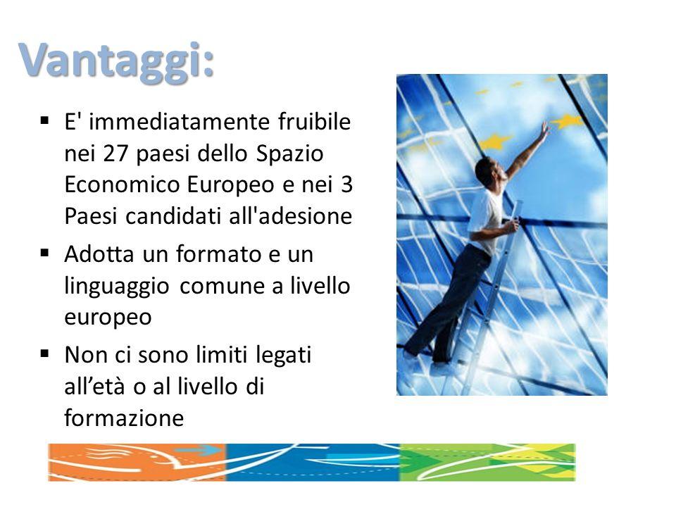 Vantaggi: E' immediatamente fruibile nei 27 paesi dello Spazio Economico Europeo e nei 3 Paesi candidati all'adesione Adotta un formato e un linguaggi
