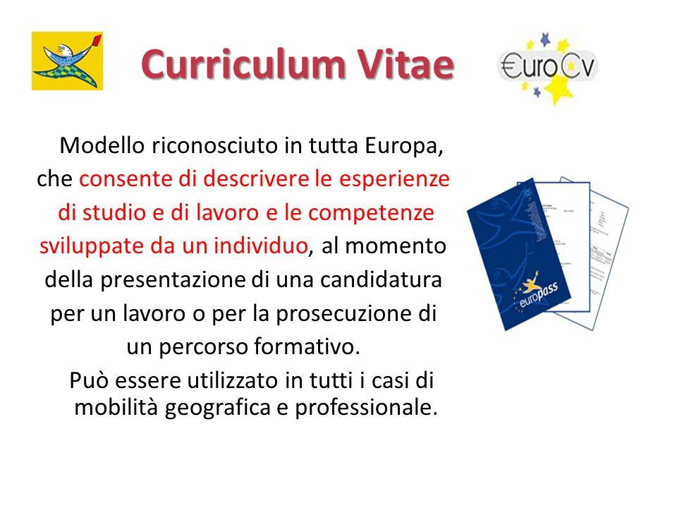 Curriculum Vitae Modello riconosciuto in tutta Europa, che consente di descrivere le esperienze di studio e di lavoro e le competenze sviluppate da un