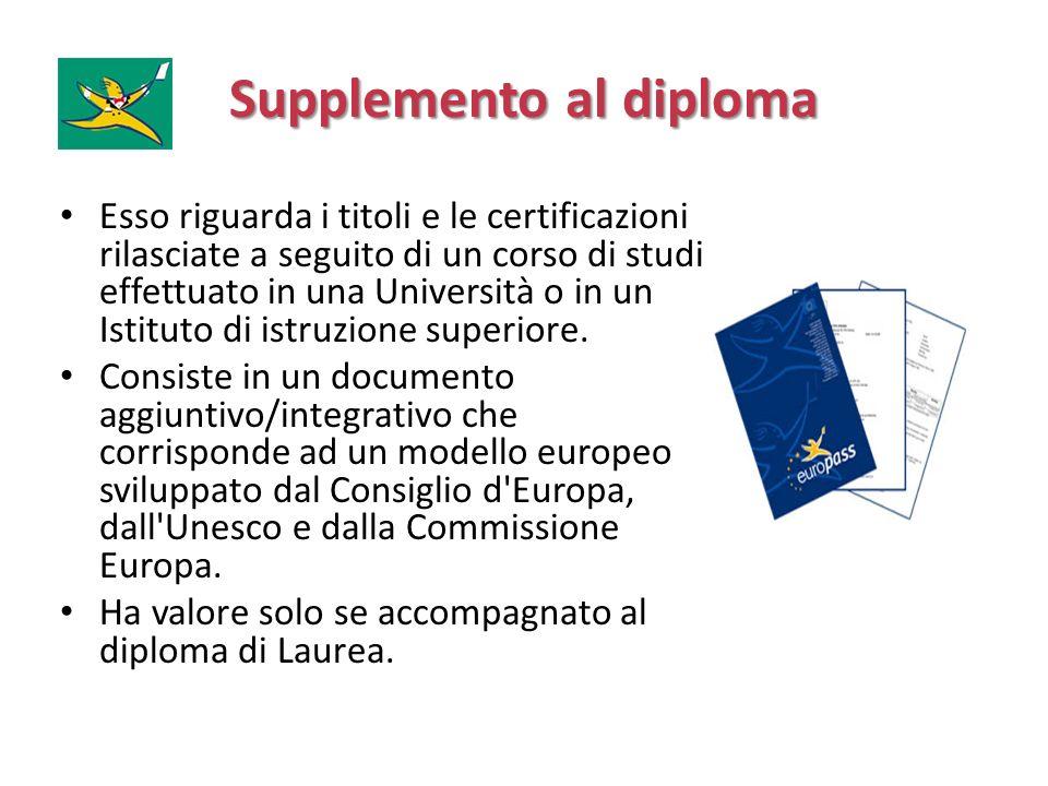 Supplemento al diploma Esso riguarda i titoli e le certificazioni rilasciate a seguito di un corso di studi effettuato in una Università o in un Istit