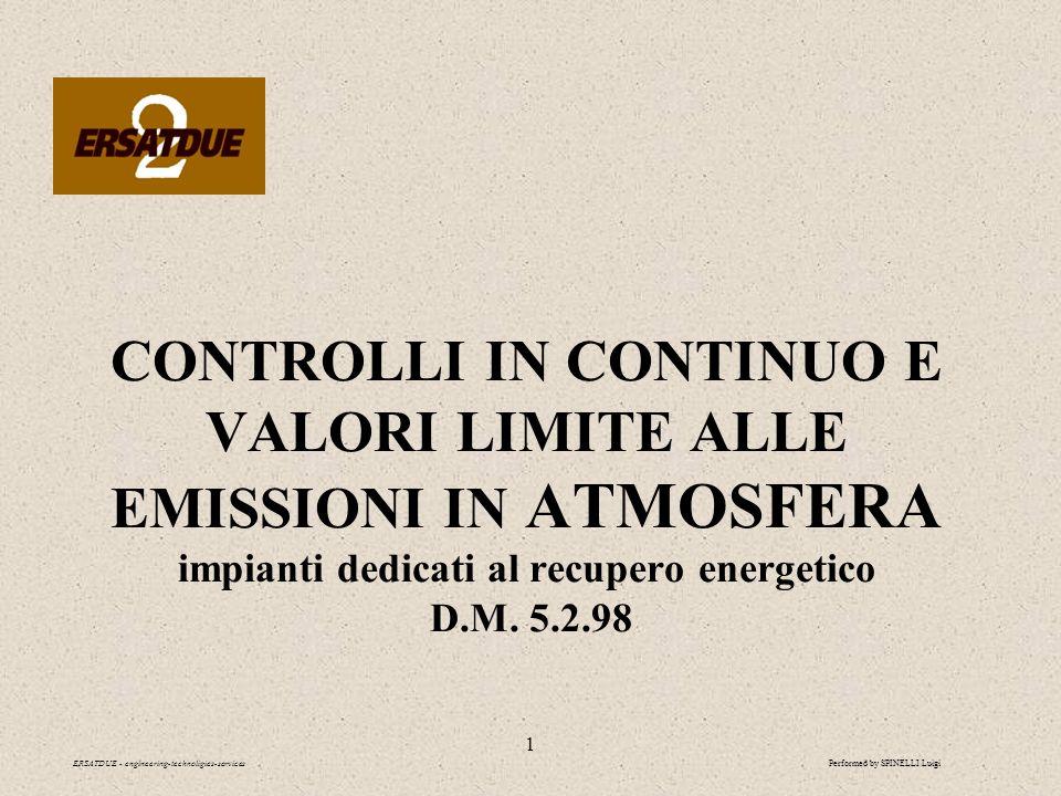 2 ADEMPIENZE IN MATERIA DI EMISSIONI IN ATMOSFERA ERSATDUE - engineering-technoligies-services Controlli in continuo e valori limite alle emissioni Dal D.M.