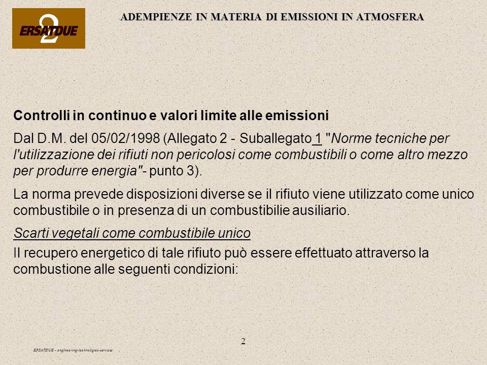 2 ADEMPIENZE IN MATERIA DI EMISSIONI IN ATMOSFERA ERSATDUE - engineering-technoligies-services Controlli in continuo e valori limite alle emissioni Da